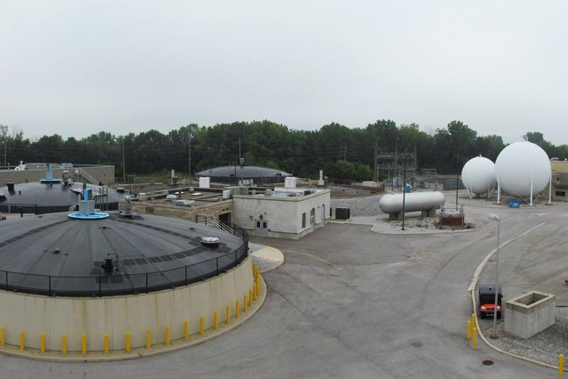 Biogas Tanks at a Waste Water Facility in Fort Wayne Indiana